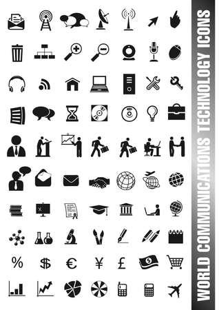 通信、人、仕事、科学および技術のための黒の異なるアイコンのセット  イラスト・ベクター素材