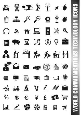 communication tools: set of different icons in black for communications, people, job, science and technology