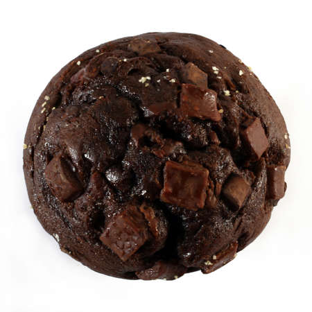 circular chocolate muffin, view from the top photo