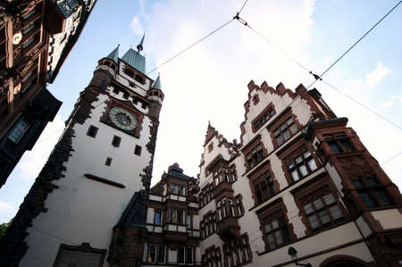 freiburg: Freiburg dowtown historical buildings with clock tower; Black Forest, Germany.