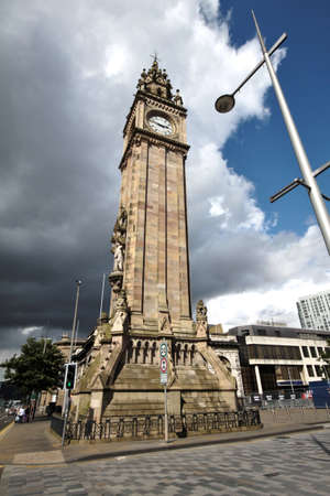 clock tower english style in Belfast, Northern Ireland, United Kingdom photo