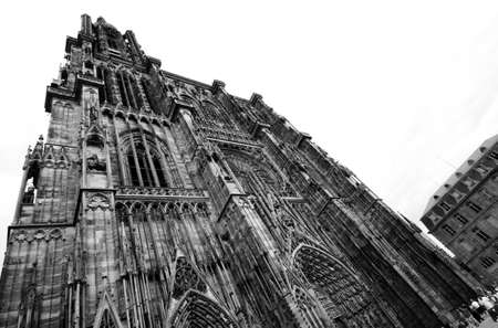 Strasbourg cathedral, Alsace, France, in black and white Stock Photo