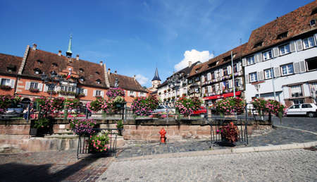 old style country village square in Alsace, France