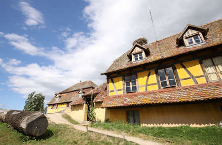 yellow country house with storks nest on the roof