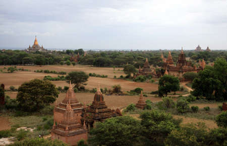 Bagan valley landscape with ruins of ancient temples, Myanmar photo