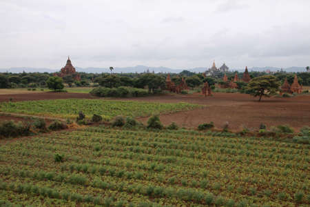valley of the temples: Bagan valley with ancient holy temples, Myanmar Stock Photo