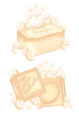 different marseille soap bars Vector