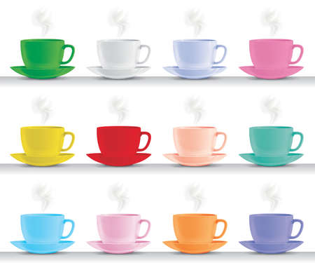 set of different coloured italian espresso coffee cups
