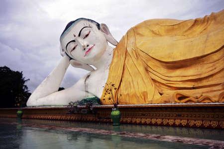 Schwethalyaung Buddha giant statue, Bago, Myanmar Stock Photo - 19056303