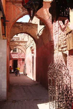 ancient atlantis: small road in Marrakech old city downtown Stock Photo