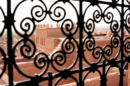 ancient atlantis: Old kasbah, view from the iron gate, Morocco Stock Photo