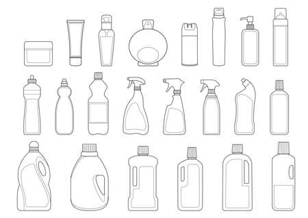 productos de aseo: Artículos de aseo botellas icon set esquema