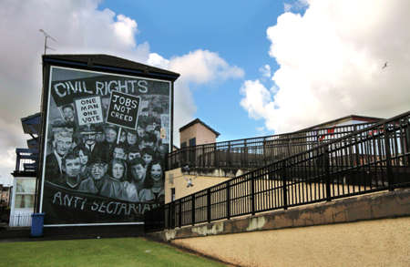 Bloody Sunday memorial wall-paintings in Londonderry, Ulster, Northern Ireland