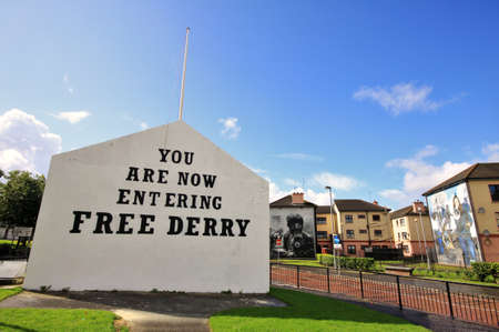 Bloody Sunday memorial wall-paintings road in Londonderry, Ulster, Northern Ireland