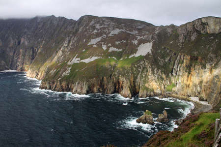 Slieve League cliffs with cloudy weather in Donegal, Ireland
