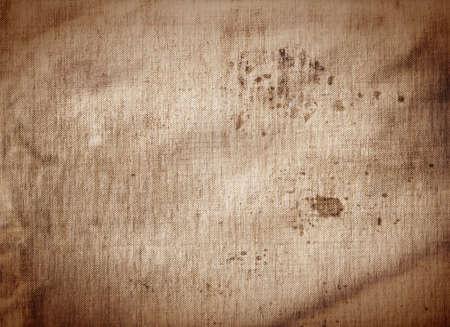 古い汚れたコーヒー テクスチャ背景、ブラウン、セピア色をキャンバスします。 写真素材