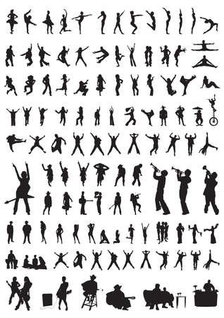 ダンス & の音楽の別の人のシルエットのコレクション  イラスト・ベクター素材
