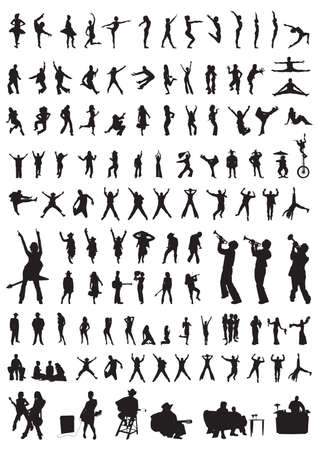collection of different people silhouettes of dance & music