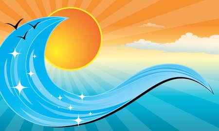 明るいグラデーションと色の波夕日バナー形式