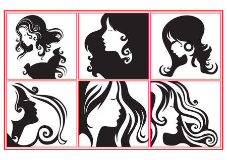 collection of fashion women profiles illustration in black and white Vector