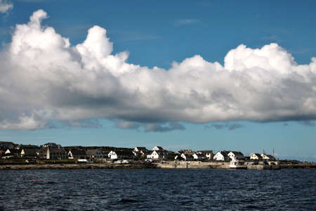 Aran islands landscape in Ireland, view of Inisheer with its small village