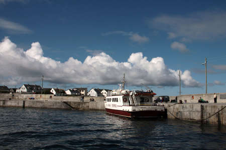 inisheer: Aran islands landscape in Ireland, view of Inisheer with its small village