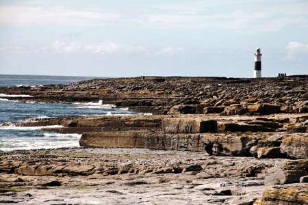 aran islands: Lighthouse in Inisheer, Aran Islands, Galway county, Ireland Stock Photo