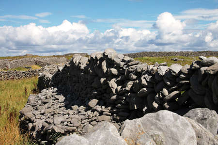 Tpical old stones drywall in Inisheer, Aran Islands, Galway county, Ireland