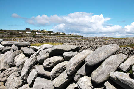 aran: Tpical old stones drywall in Inisheer, Aran Islands, Galway county, Ireland