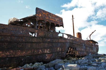 aran islands: Old Shipwreck boat in Inisheer, Aran Islands, Galway county, Ireland