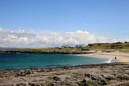 Aran islands landscape in Ireland, view of Inisheer coast with its small village