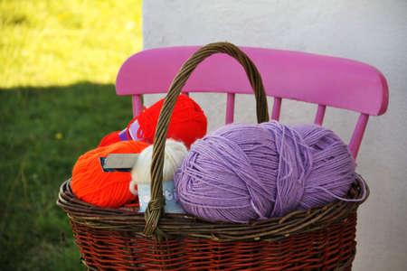 aran: many wool balls in a basket in Ireland, Aran Islands