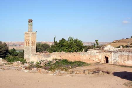 Cellah necropolis minaret and old mosque, Morocco photo