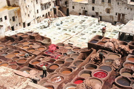 leather tanneries coloring in Fez, Morocco