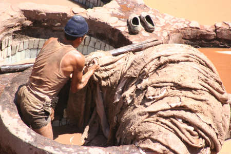 tanneries worker in Fez, Morocco