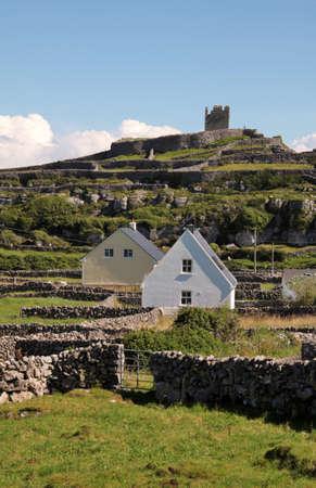 aran islands: village and old ruins in Inisheer, Aran Islands, Ireland