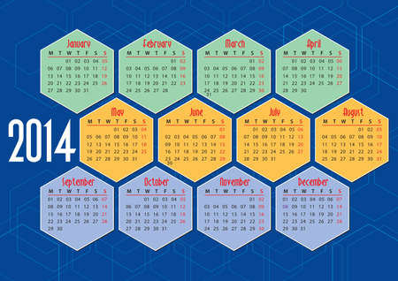 2014 english calendar with hexagons, flat colours Vector