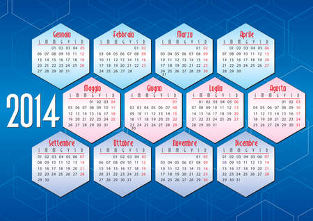 italian calendar 2014 with hexagonal geometric shapes Vector