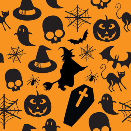 seamless Halloween pattern with most famous icons Illustration