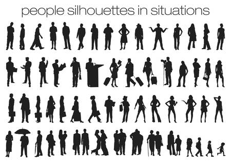 set of mixed people silhouettes in situations, in black isolated on white