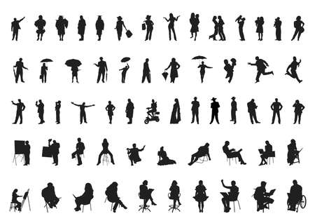 people silhouettes collection Imagens - 23467687
