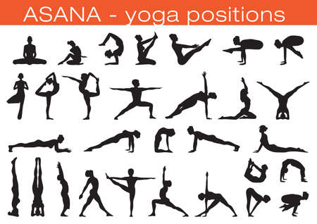 set of different people silhouettes in yoga position