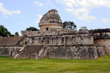maya ruins of a observatory in Chichen Itza, Mexico