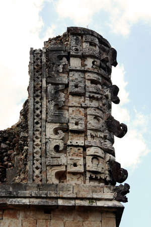 deatil: Decoration in Uxmal pyramid ruins Stock Photo