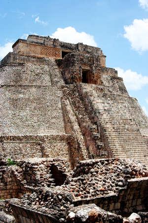 deatil: Uxmal pyramid detail, Yucatan, Mexico