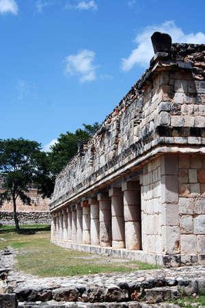 Uxmal courtyard detail, ruins of the old maya city in Yucatan Stock Photo