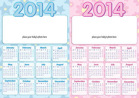 copyspace: baby calendar 2014 in english, for boy and girl, with photo-frame and copy-space