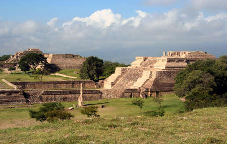 Monte Alban landscape with pyramids