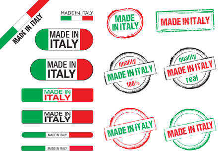 made in italy flags, stamps and icons