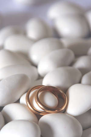 comfits: wedding rings and comfits Stock Photo